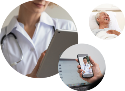 Three circles from left to right: doctor on tablet reviewing patient information, patient on video call with physician, elderly lady laughing in recovery room hospital bed