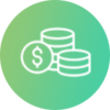 Circle with stack of coins icon representing the financing of RPM programs with grants or reimbursement strategies
