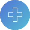 Circle with cross icon representing hospital strategy for reduced readmission and capturing the outpatient market