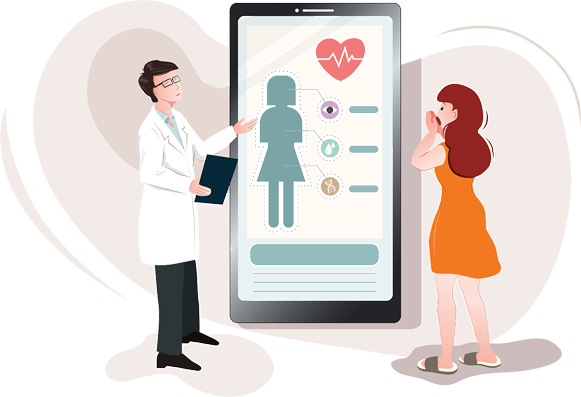 Illustration of doctor showing a health assessment on an enlarged phone to their patient