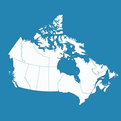 Carte du Canada pour complémenter l'état des soins virtuels dans le pays, celui-ci variant par province et région, étant donné que les régions éloignées peuvent en avoir davantage de besoin