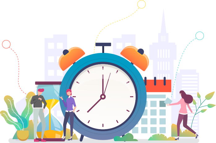 Illustration of people around a clock, calendar and hourglass representing the reduced length of stay for patients as they transition without disruptions to their care