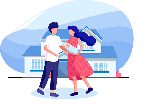 Illustration of a couple with a new born baby in front of their home that is in a remote location
