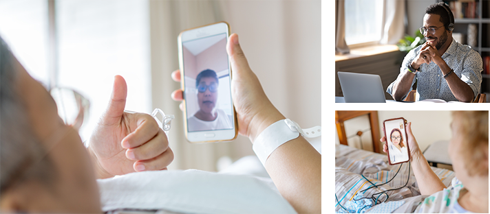 Three images of patients and outpatients communicating with their smart devices to family members to alleviate loneliness of social isolation