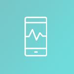 Cercle avec l'icône d'un téléphone intelligent ayant un graphique linéaire à l'écran représentant l'état des soins virtuels au Canada