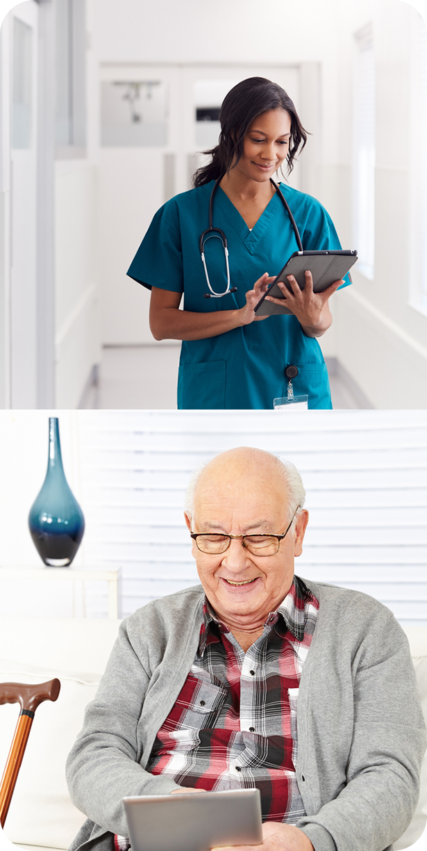 Clinician communicating virtually with outpatient with the help of tablets and elderly man receiving communications at home