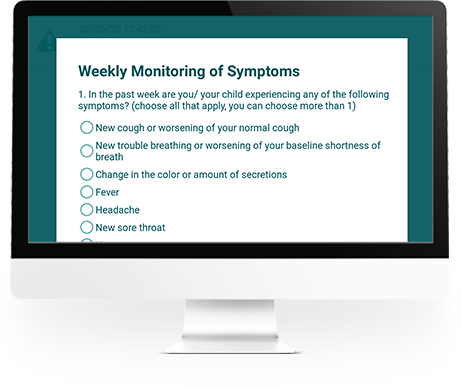 Desktop with weekly monitoring of symptoms assessment for chronic diseases