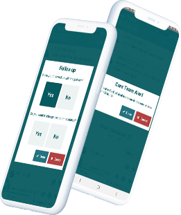 Two cellphone mockups showing follow and alert features
