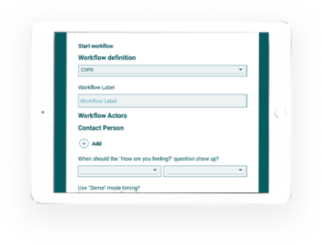 Clinical workflow setup in aTouchaway on tablet