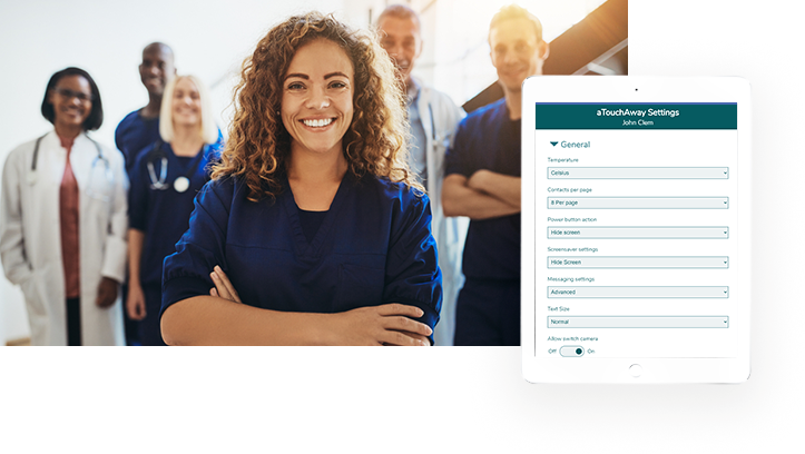 aTouchAway General Settings tab on tablet with team of healthcare professionals standing together