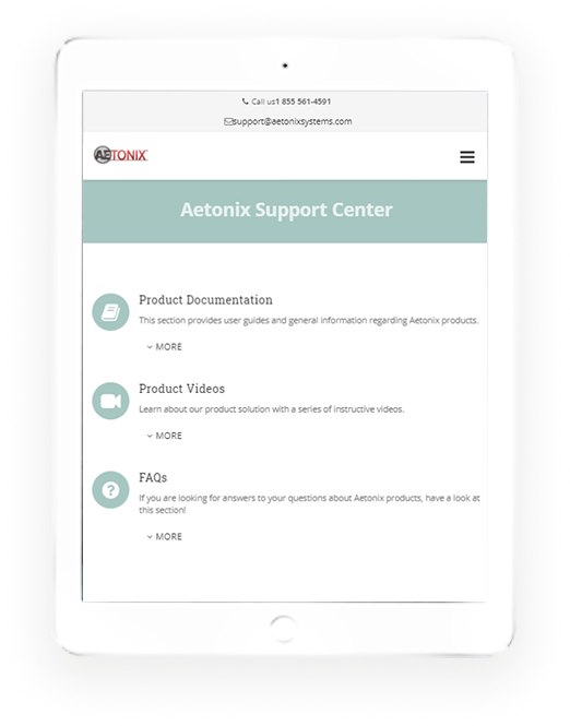Tablet application of Aetonix system on the Support Center page