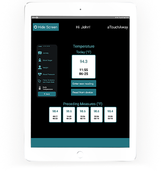 Tablet mockup of temperature verifications on aTouchAway application