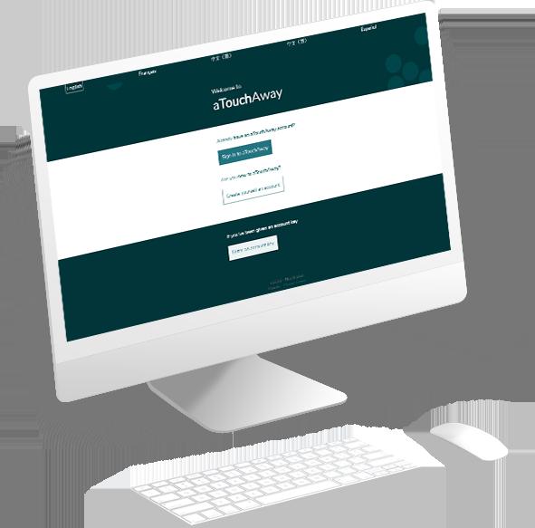 Moniteur d'ordinateur avec application aTouchAway Web ouverte