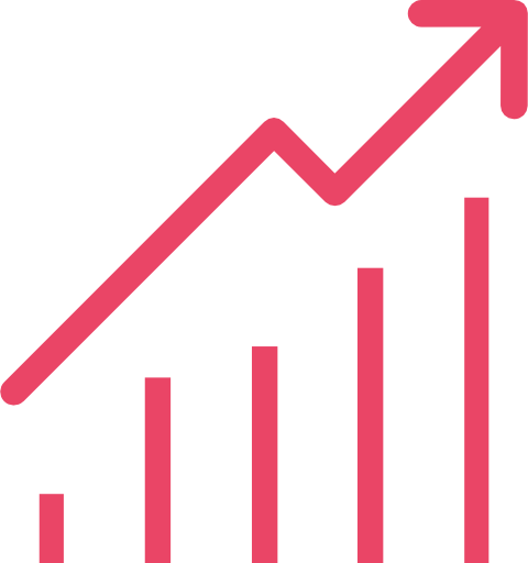 Icône de diagramme à barres avec flèche montante allant de gauche à droite, démontrant la population vieillissante en Amérique du nord.